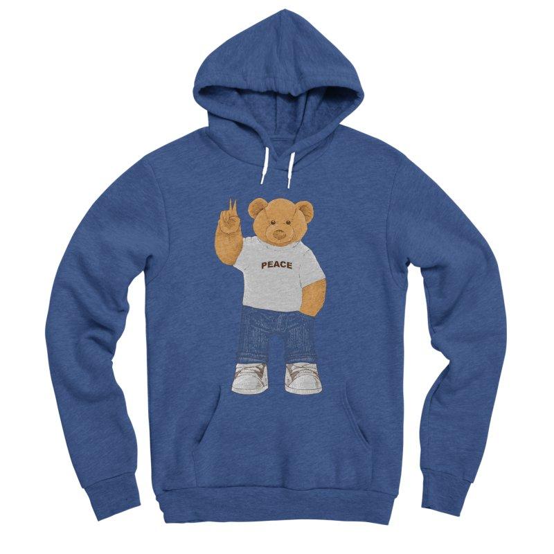 Peace Bear Men's Sponge Fleece Pullover Hoody by barmalisiRTB