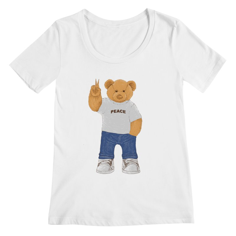 Peace Bear Women's Regular Scoop Neck by barmalisiRTB