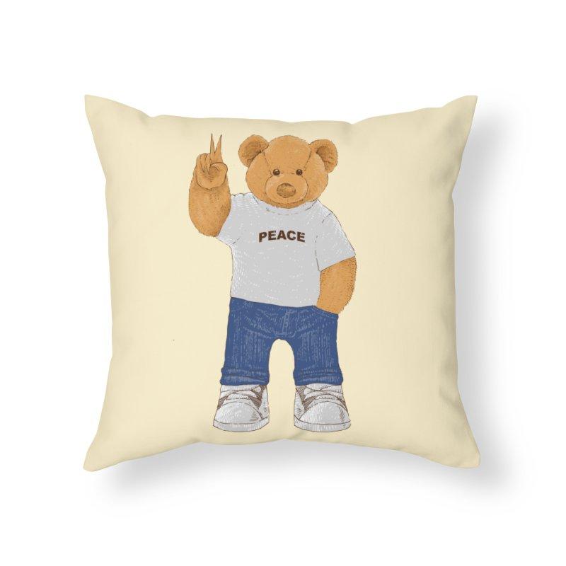 Peace Bear Home Throw Pillow by barmalisiRTB