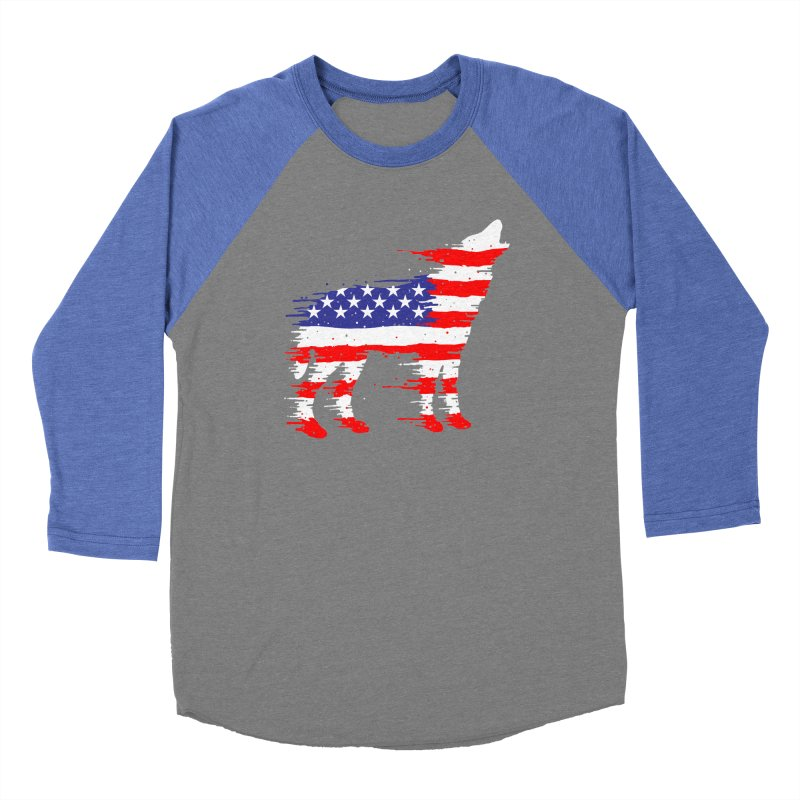 American Wolf Men's Baseball Triblend Longsleeve T-Shirt by barmalisiRTB