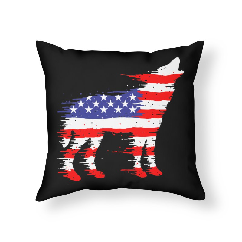 American Wolf Home Throw Pillow by barmalisiRTB
