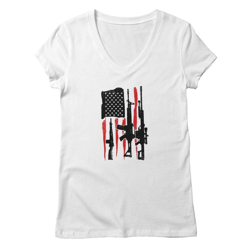 American Hero Flag Women's Regular V-Neck by barmalisiRTB