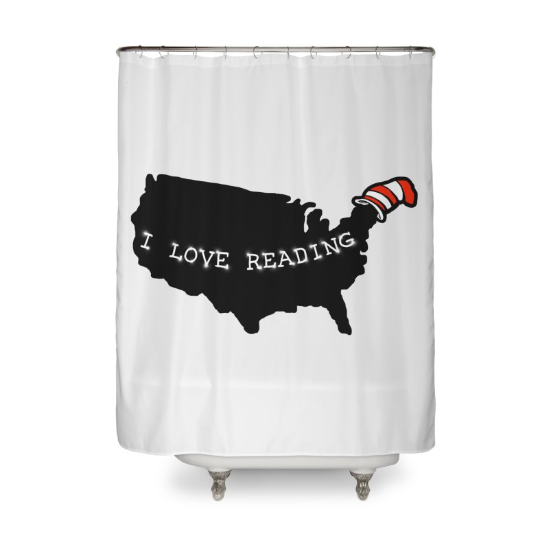 I Love Reading America Home Shower Curtain by barmalisiRTB