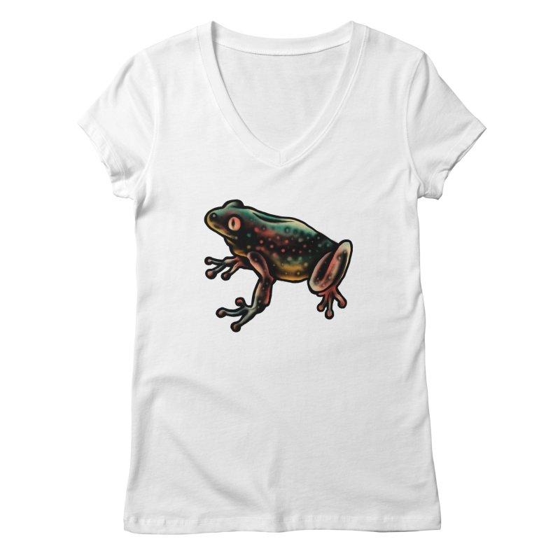 Leopard frog Women's Regular V-Neck by barmalisiRTB