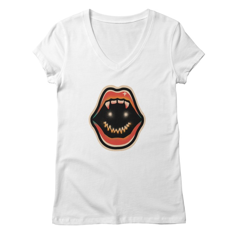 mouth mystery Women's Regular V-Neck by barmalisiRTB