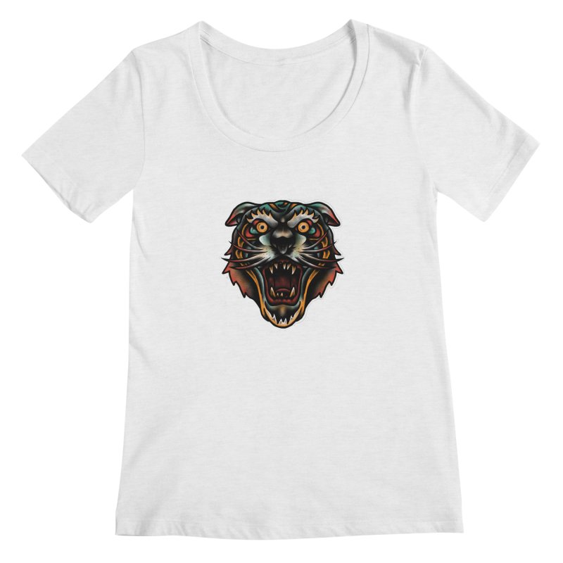 Tiger fighter Women's Scoop Neck by barmalisiRTB
