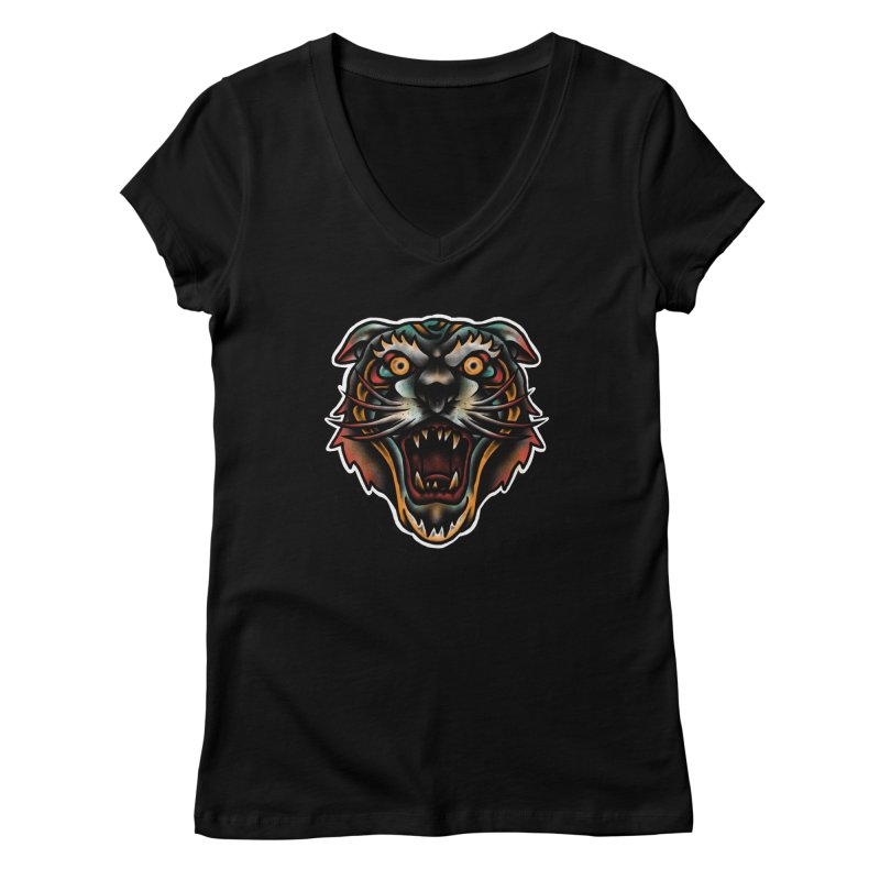 Tiger fighter Women's V-Neck by barmalisiRTB