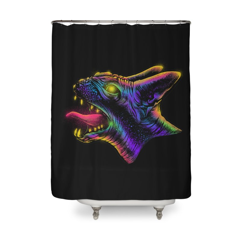 Sphynx head Angry Home Shower Curtain by barmalisiRTB