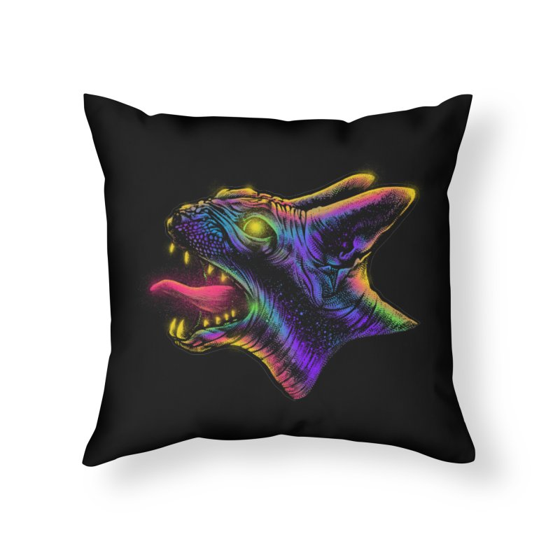 Sphynx head Angry Home Throw Pillow by barmalisiRTB