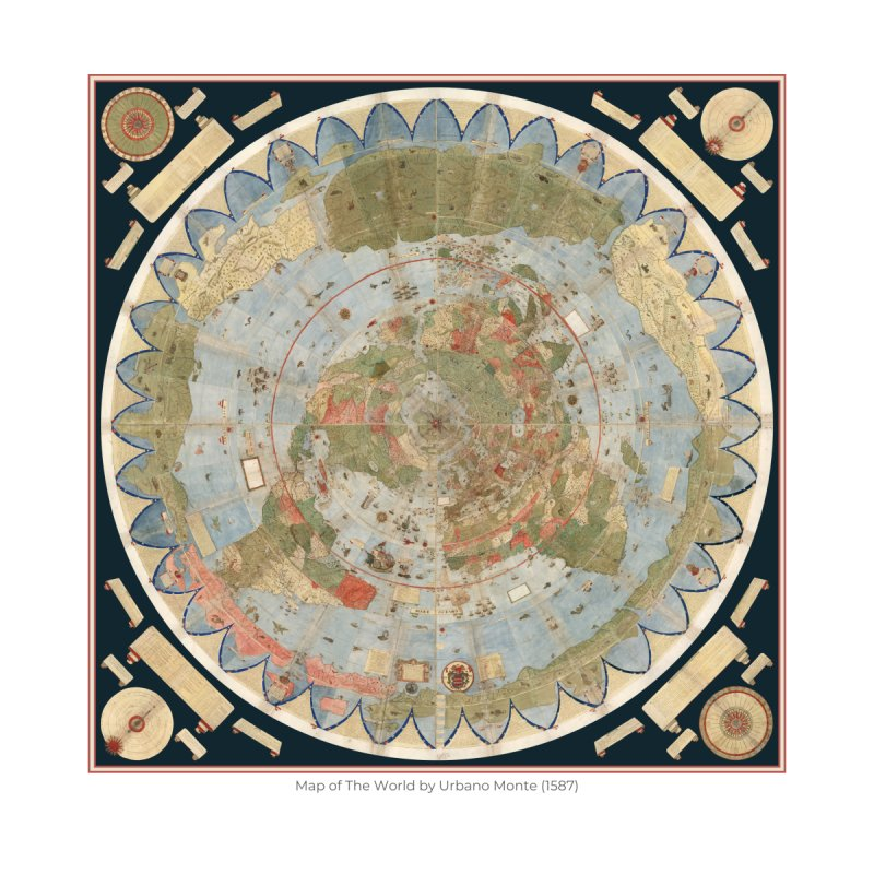 Map of The World by Urbano Monte (1587) Home Framed Fine Art Print by nagybarnabas's Artist Shop