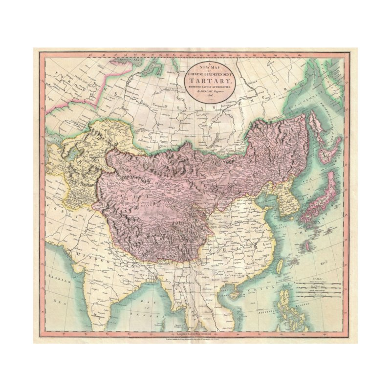 Map of Chinese and Independent Tartary by John Cary (1806) Home Mounted Aluminum Print by nagybarnabas's Artist Shop