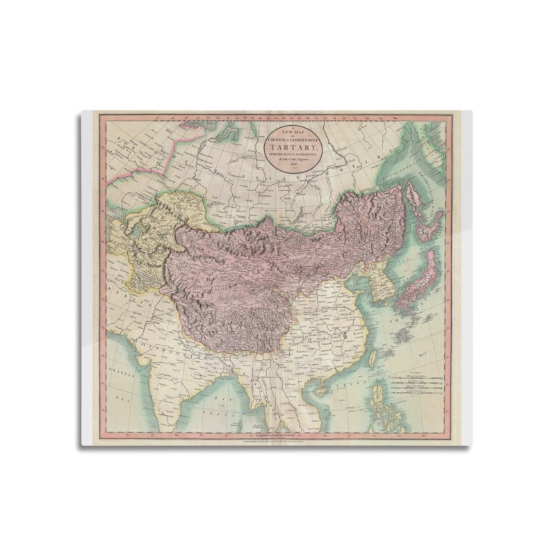 Map of Chinese and Independent Tartary by John Cary (1806) Home Mounted Acrylic Print by nagybarnabas's Artist Shop