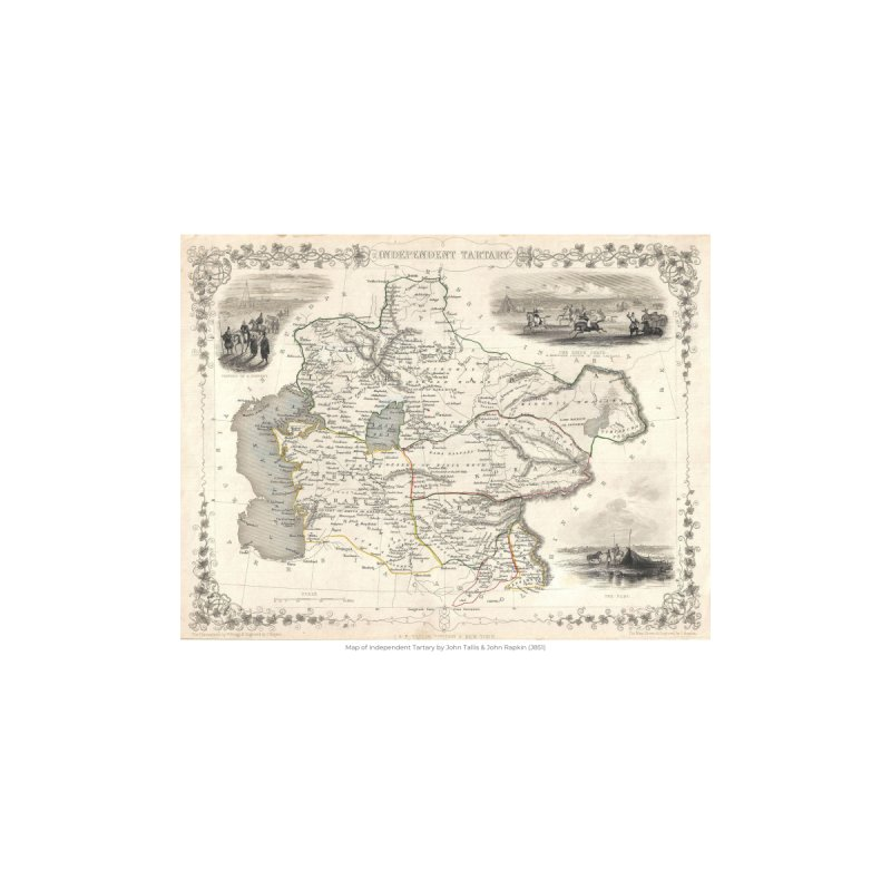 Map of Independent Tartary by John Tallis & John Rapkin (J851) by nagybarnabas's Artist Shop