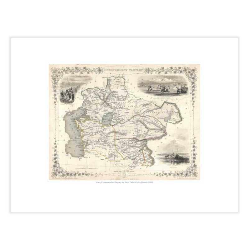 Map of Independent Tartary by John Tallis & John Rapkin (J851) Home Fine Art Print by nagybarnabas's Artist Shop