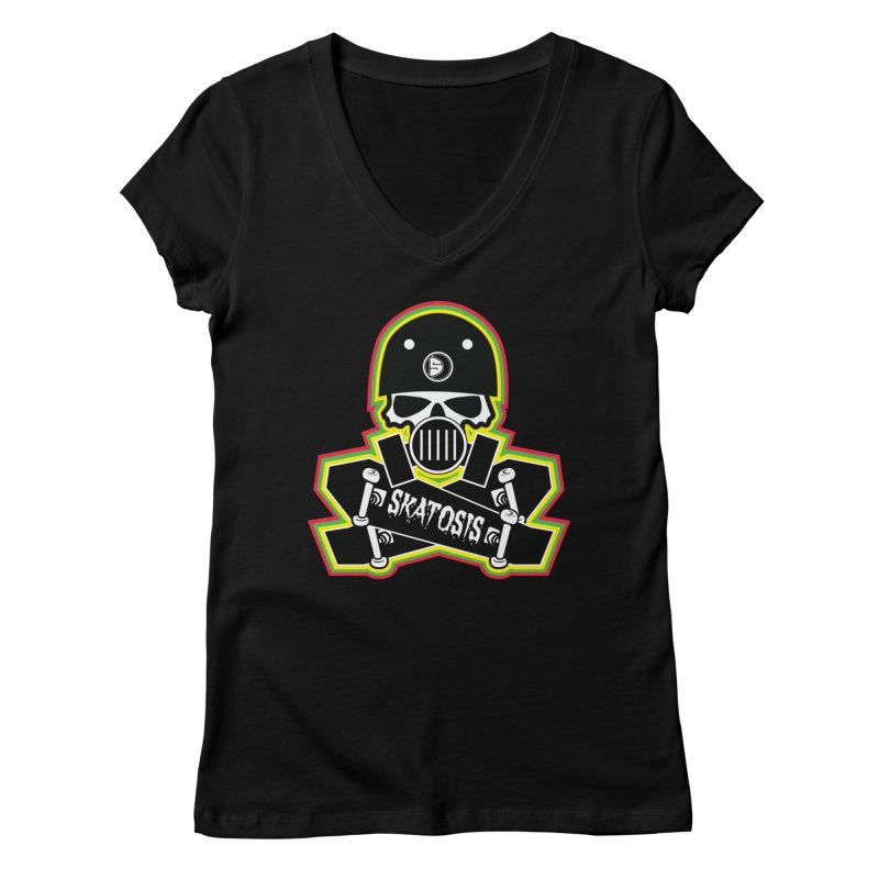 SKATOSIS Women's Regular V-Neck by Drew's Barn Burner Shop