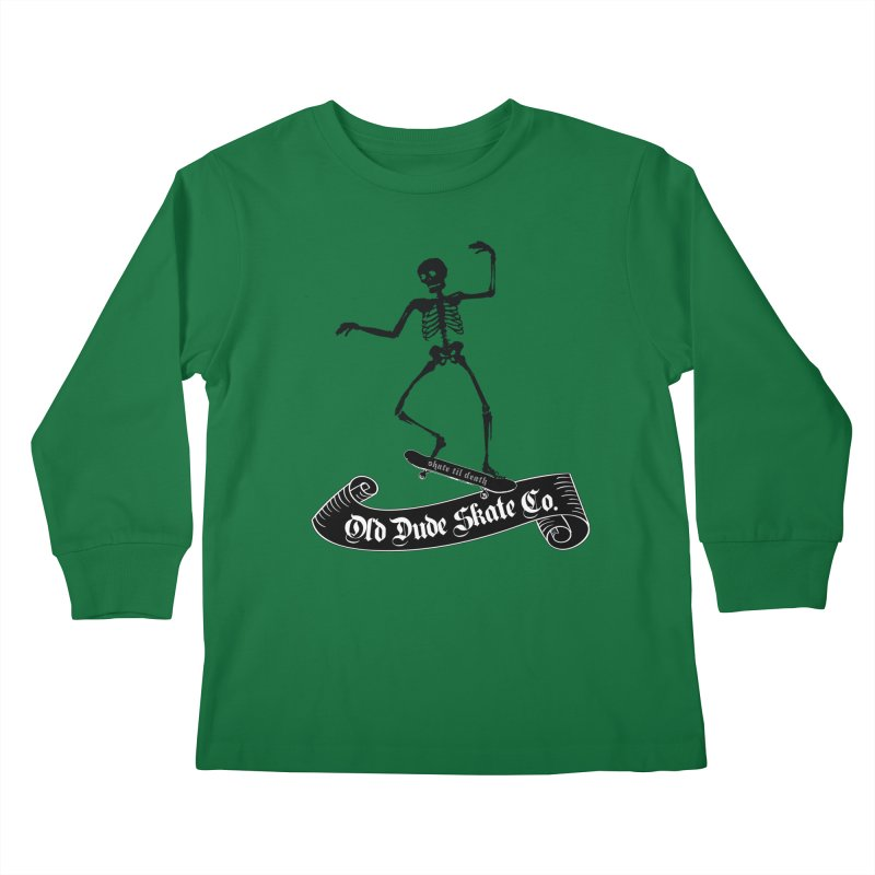 ODS Grinding Skelton Kids Longsleeve T-Shirt by Drew's Barn Burner Shop