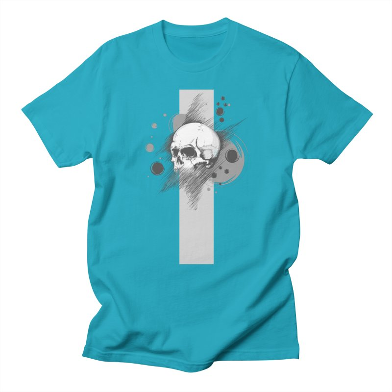 Skull of Stress in Men's T-Shirt Cyan by barondzines