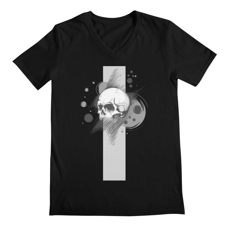 Skull of Stress in Men's V-Neck Black by barondzines