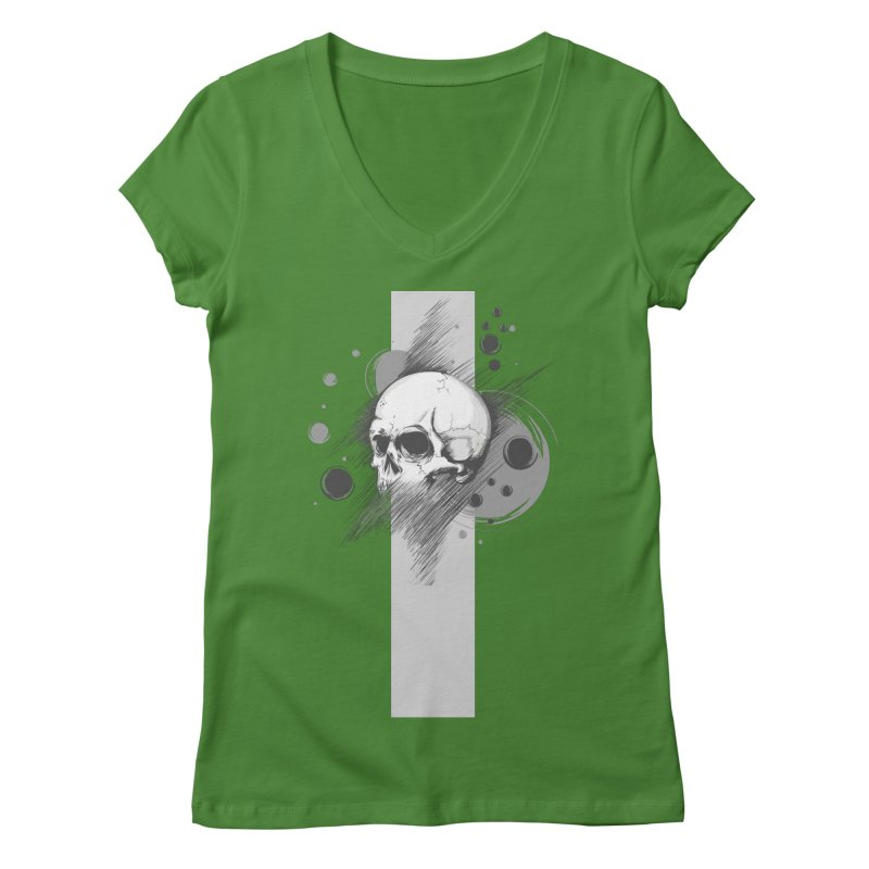 Skull of Stress Women's V-Neck by barondzines