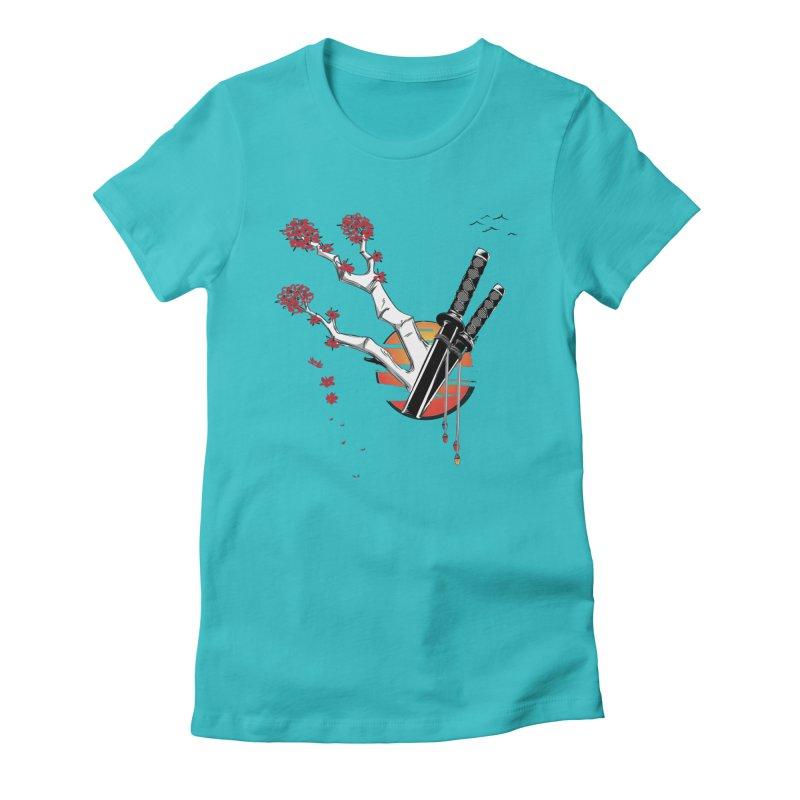 Samurai Sword Sunset Women's Fitted T-Shirt by barondzines