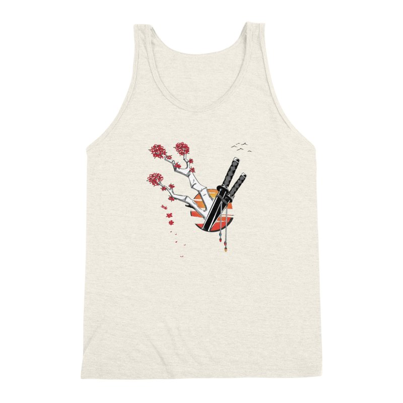 Samurai Sword Sunset Men's Triblend Tank by barondzines