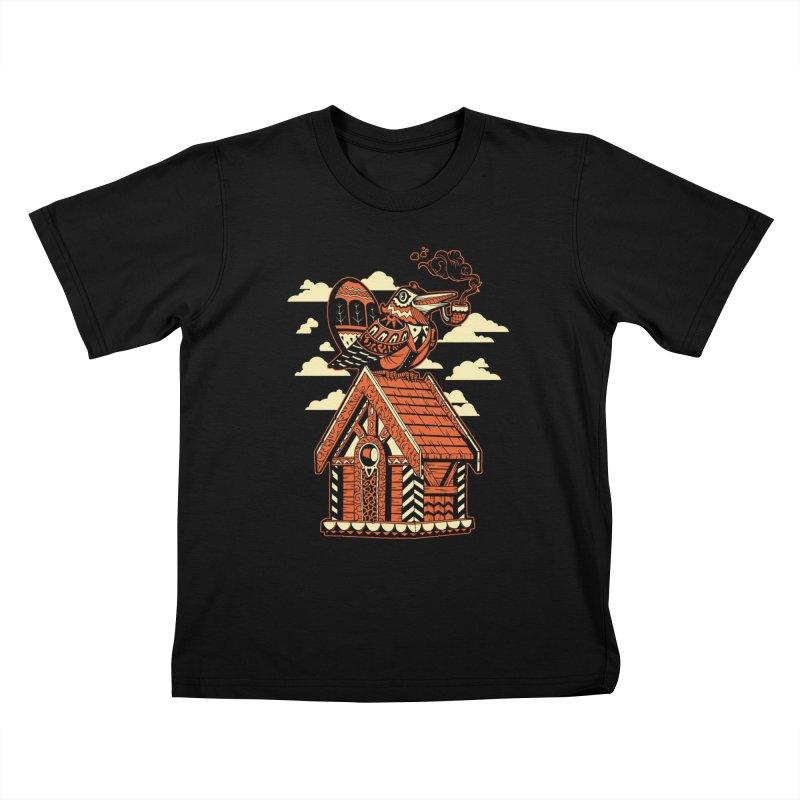THE CRIMSON BIRDHOUSE Kids T-Shirt by Baron Wolf Creative