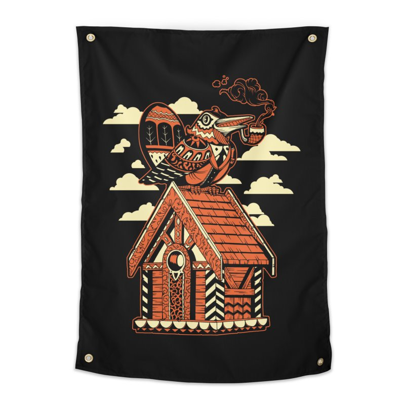 THE CRIMSON BIRDHOUSE Home Tapestry by Baron Wolf Creative