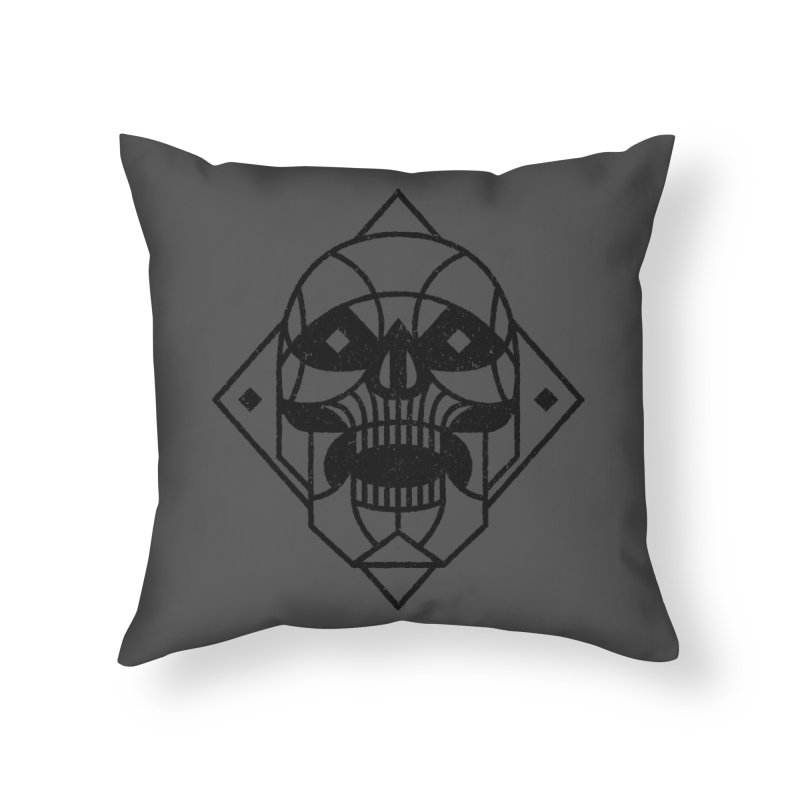 MINIMAL SKULL Home Throw Pillow by Baron Wolf Creative
