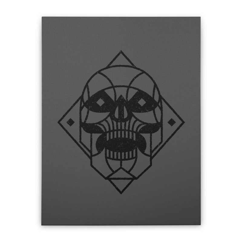 MINIMAL SKULL Home Stretched Canvas by Baron Wolf Creative