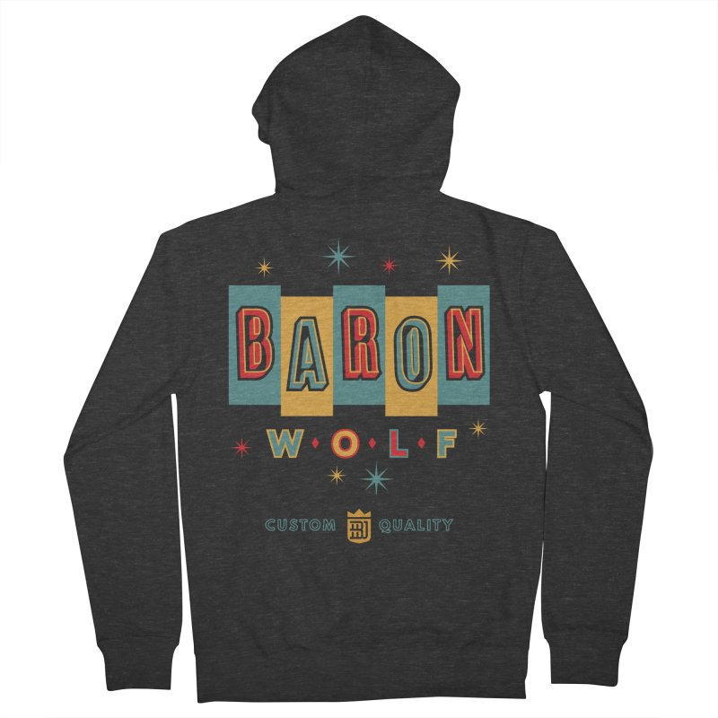 BARON WOLF RETRO Men's French Terry Zip-Up Hoody by Baron Wolf Creative