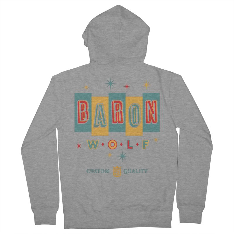 BARON WOLF RETRO Men's Zip-Up Hoody by Baron Wolf Creative