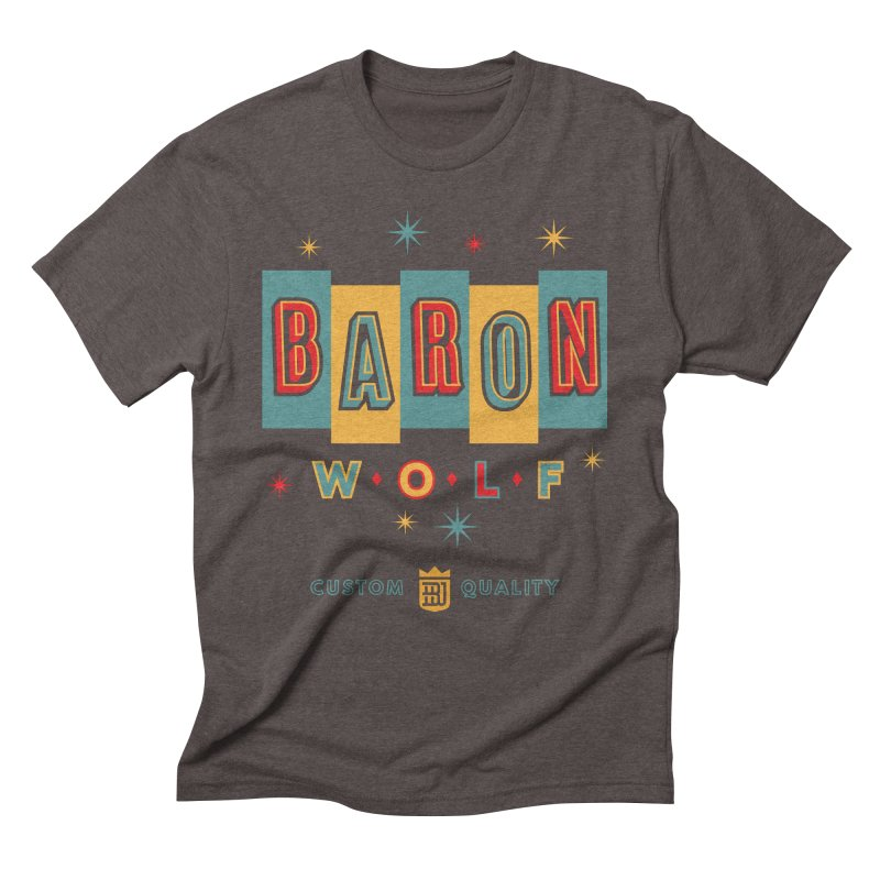 BARON WOLF RETRO Men's Triblend T-Shirt by Baron Wolf Creative
