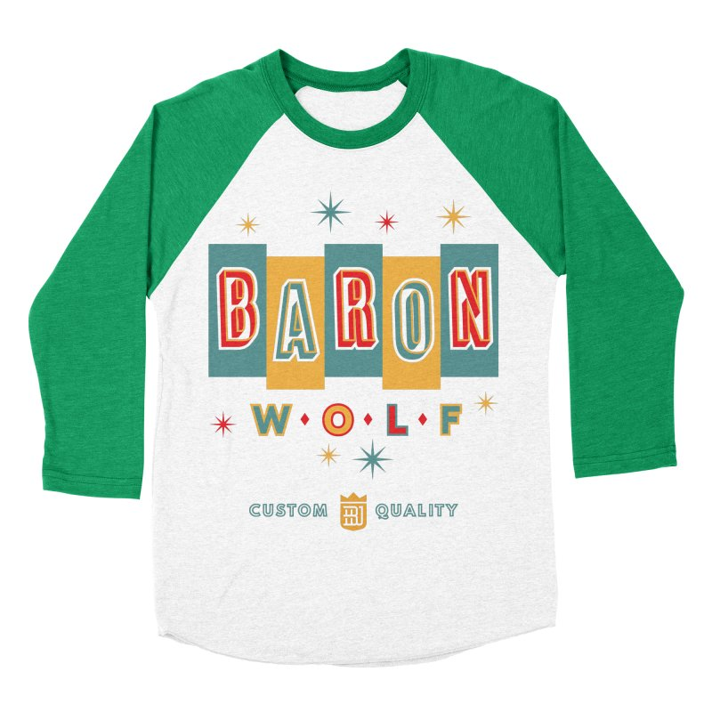 BARON WOLF RETRO Men's Baseball Triblend Longsleeve T-Shirt by Baron Wolf Creative
