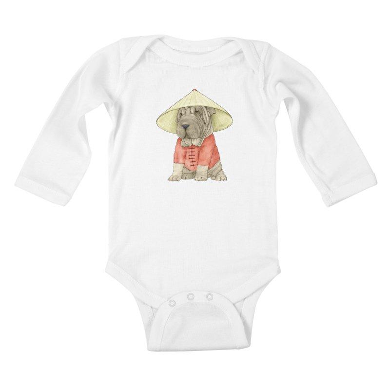 Shar Pei Kids Baby Longsleeve Bodysuit by Barruf