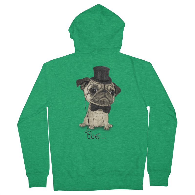Pug; Gentle Pug Men's Zip-Up Hoody by Barruf
