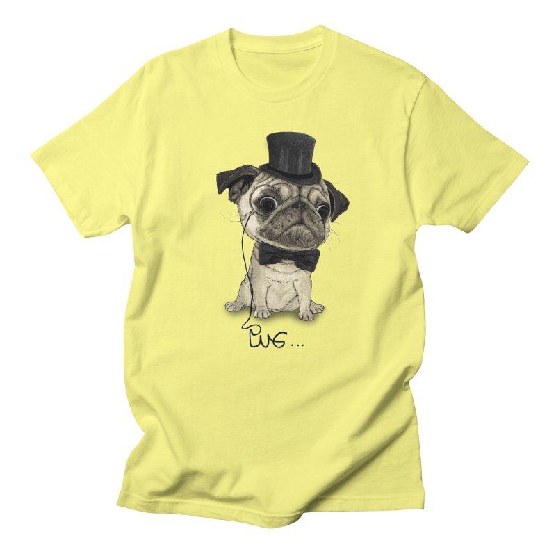 Pug; Gentle Pug Men's T-Shirt by Barruf