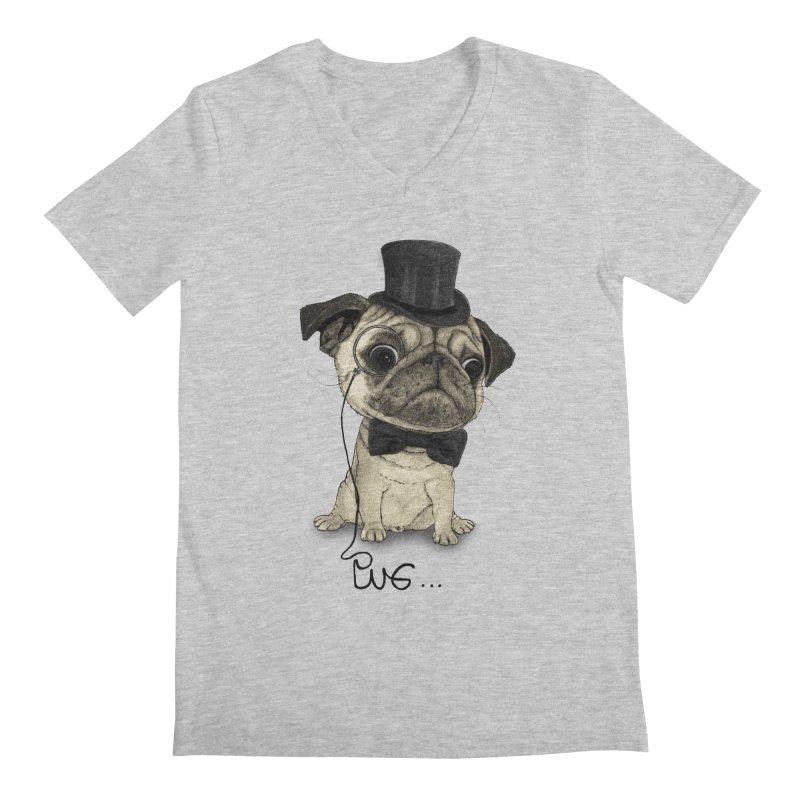 Pug; Gentle Pug Men's V-Neck by Barruf