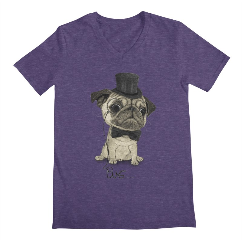 Pug; Gentle Pug Men's V-Neck by Barruf