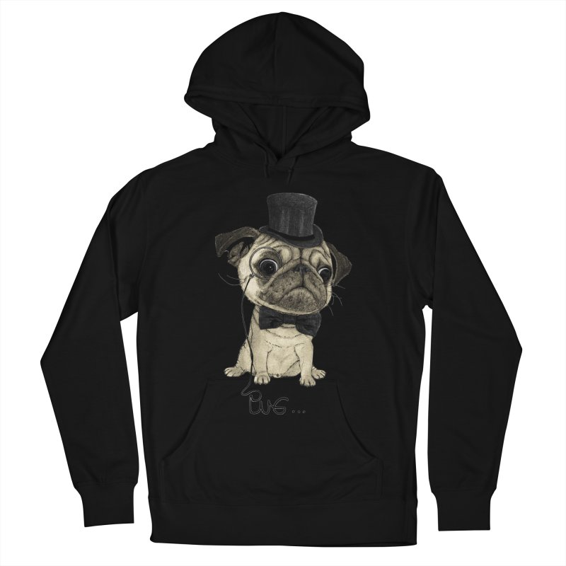 Pug; Gentle Pug Men's French Terry Pullover Hoody by Barruf