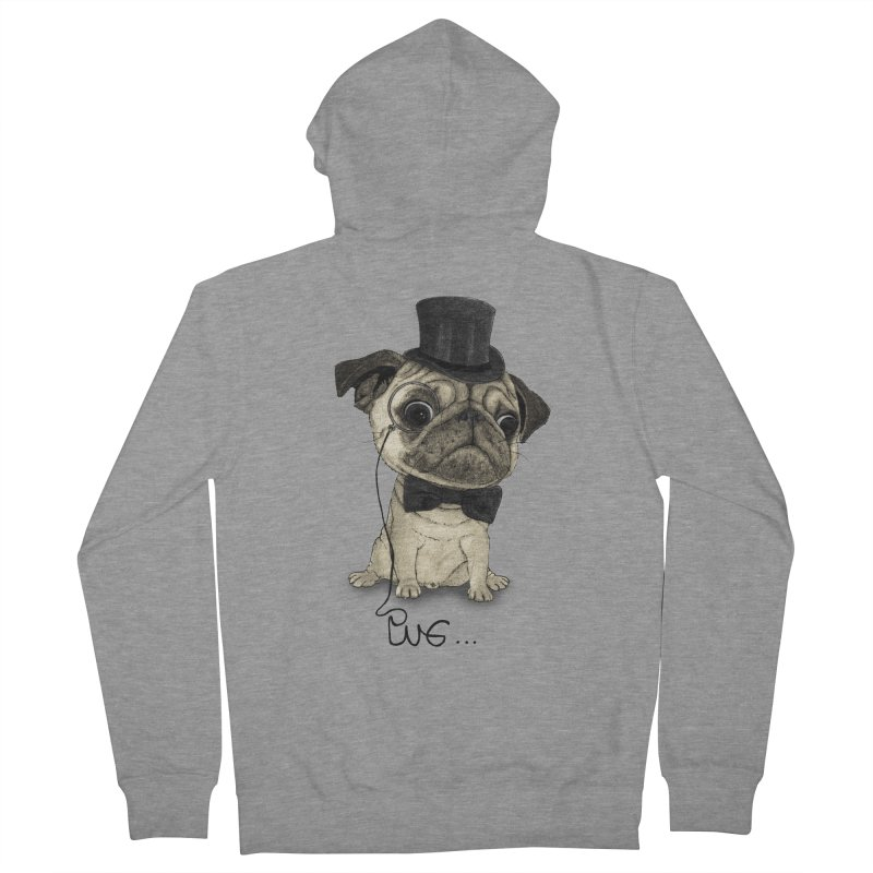 Pug; Gentle Pug Women's French Terry Zip-Up Hoody by Barruf