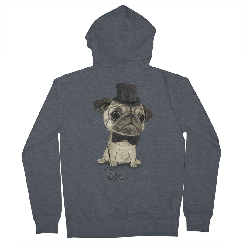 Pug; Gentle Pug Men's French Terry Zip-Up Hoody by Barruf