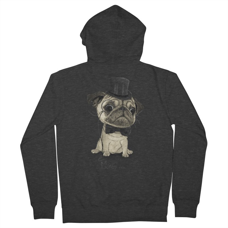Pug; Gentle Pug Men's French Terry Zip-Up Hoody by Barruf