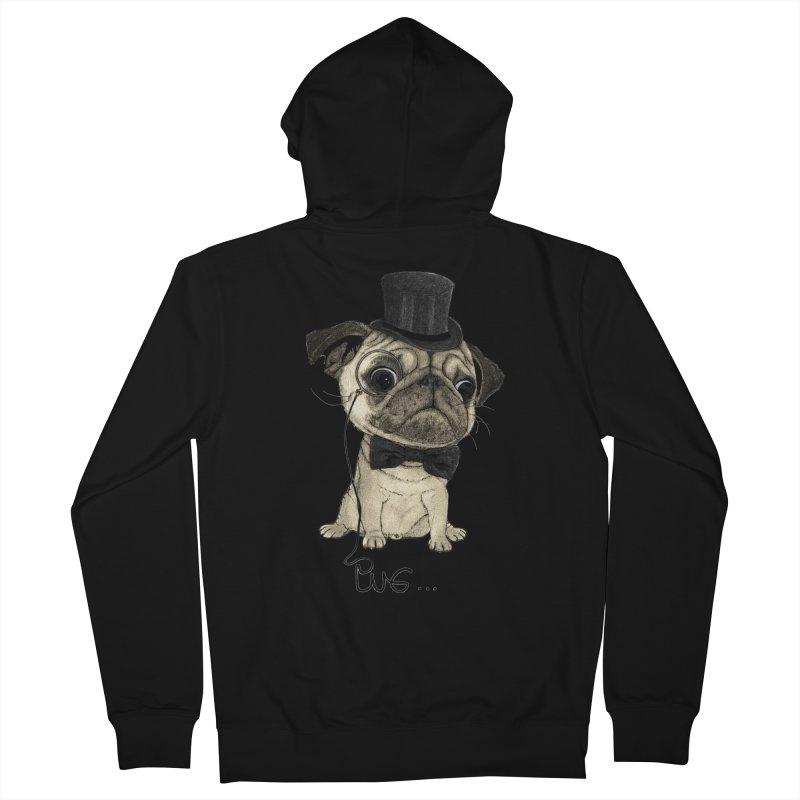 Pug; Gentle Pug Men's Zip-Up Hoody by Barruf
