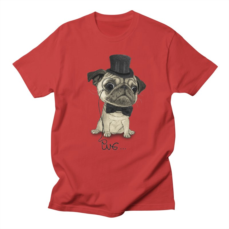Pug; Gentle Pug Men's Regular T-Shirt by Barruf