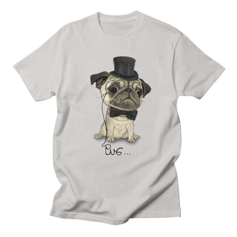 Pug; Gentle Pug in Men's Regular T-Shirt Stone by Barruf