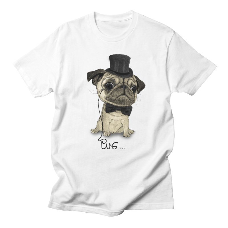 Pug; Gentle Pug Men's Regular T-Shirt by Barruf