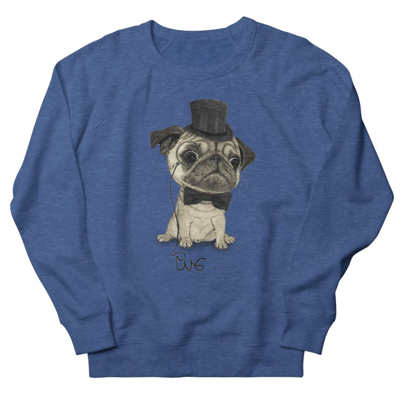 Pug; Gentle Pug Men's French Terry Sweatshirt by Barruf