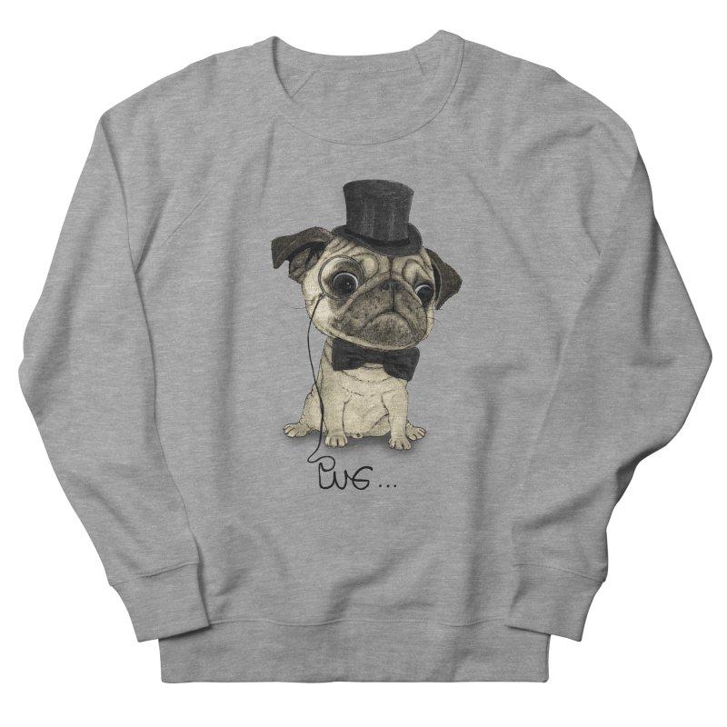 Pug; Gentle Pug Men's French Terry Sweatshirt by Barruf