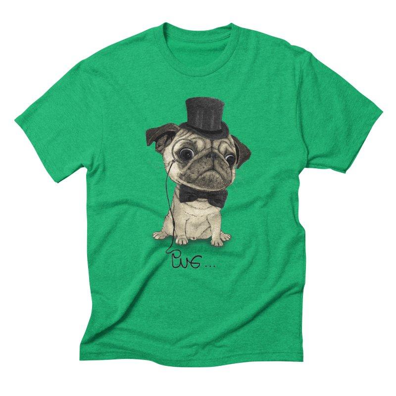 Pug; Gentle Pug Men's Triblend T-Shirt by Barruf
