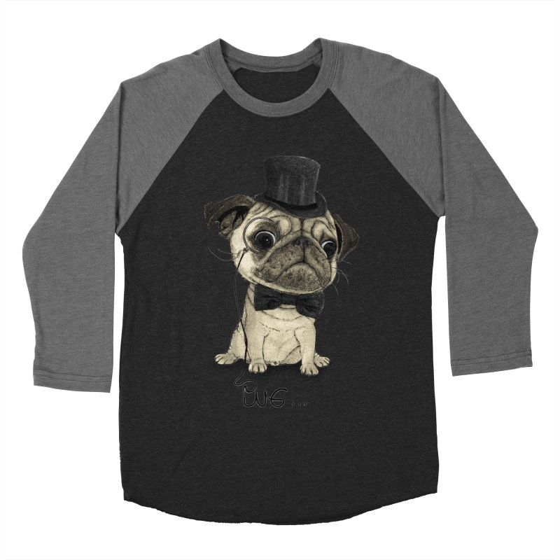 Pug; Gentle Pug Men's Baseball Triblend Longsleeve T-Shirt by Barruf